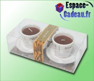 Bougie dans tasse de café [par 2]