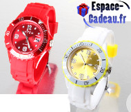 Montre silicone rouge ou jaune