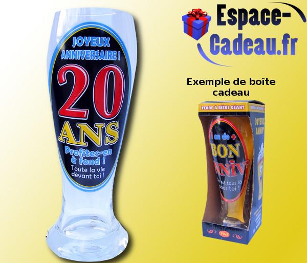 Méga Verre à Bière 20 Ans Espace Cadeau