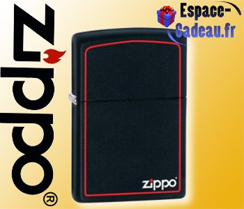 Zippo Black Mat with red border