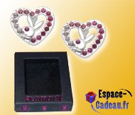Boucles d'oreille Playboy - Puce coeur strass